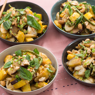 Summer Vegetable Korean Rice Cakes with Squash, Eggplant & Long Beans.