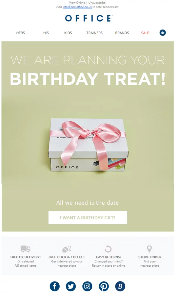 office birthday email