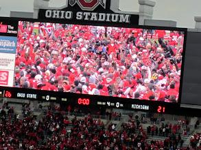 Photo: Scoreboard shot of the final score. I love the one michigan helmet