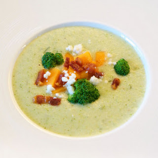 Cream of Broccoli Soup with Butternut Squash, Pancetta and Feta.