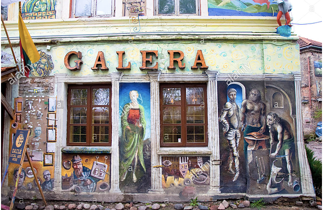 In addition to the Palace of the Grand Dukes, you'll also find an assortment of quirky art displays while you stroll through Vilnius' Old Town.