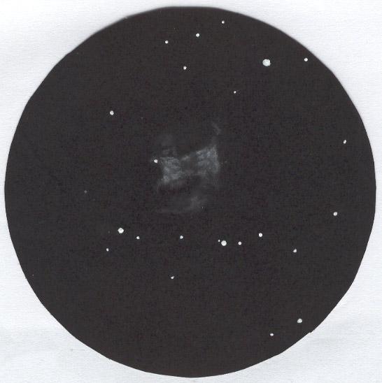 Photo: M76 dans la T406 à 250X le 15 octobre 2007. Les faibles extensions ont été vues avec un filtre OIII.