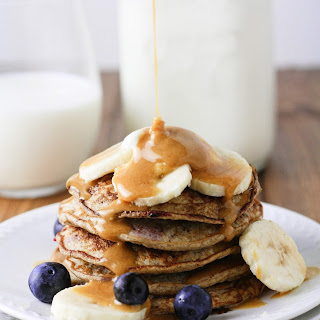 Skinny Banana Blueberry Pancakes