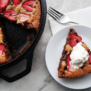 Strawberry Chocolate Chip Skillet Cookie.