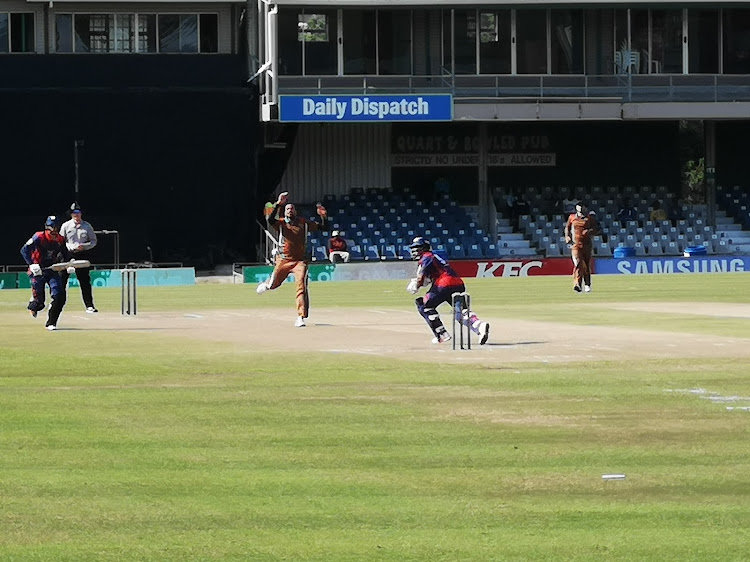 Border bowler Basheer Walters in action against Easterns during the Africa Cup T20 match between the two sides at Buffalo Park on Sunday afternoon.