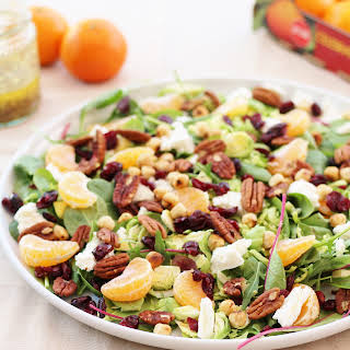 Sprout Salad with Cranberries, Pecan nuts and Clementines.