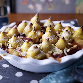 Pear and Plum Compote with Marzipan Topping