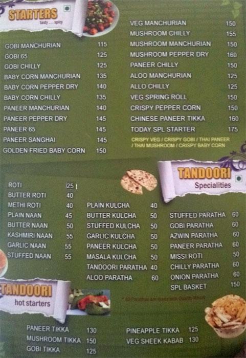 Hotel Chandrika menu 6