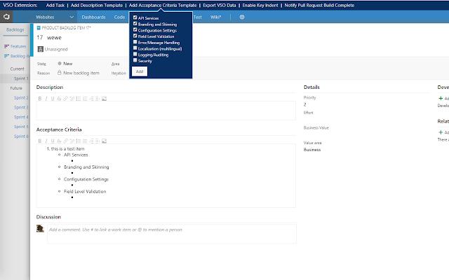 Visual Studio Online Extension