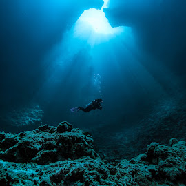 Light Rays Underwater by Joyce Chang - Landscapes Underwater ( blue hole, palau, light rays underwater, rays, cave diving )
