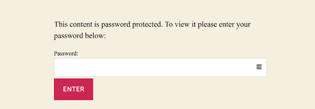 Screenshot of where to enter a password to view a password protected WordPress post