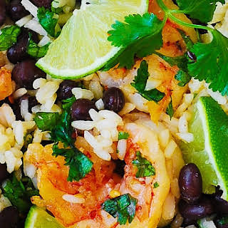 Cilantro-Lime and Black Bean Shrimp and Rice Skillet.