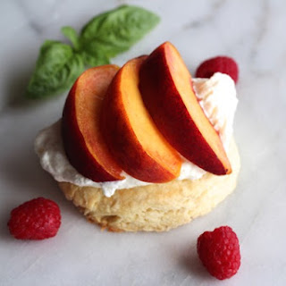 Peach Shortcake with Raspberries & Whipped Cream