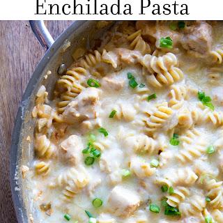 One Pan Green Chile Chicken Enchilada Pasta.