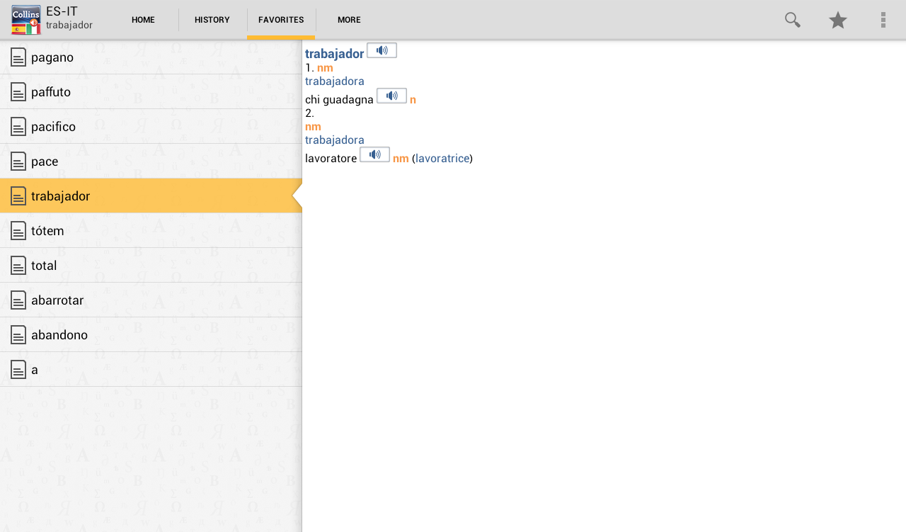 Spanish<>Italian Dictionary T- screenshot