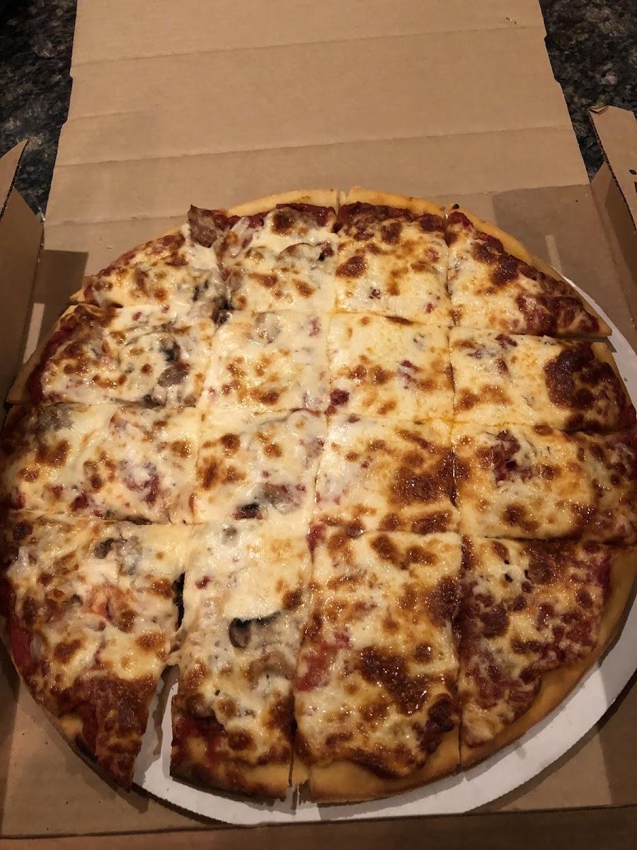 Large thin crust GF pizza (half pepperoni/half sausage ...
