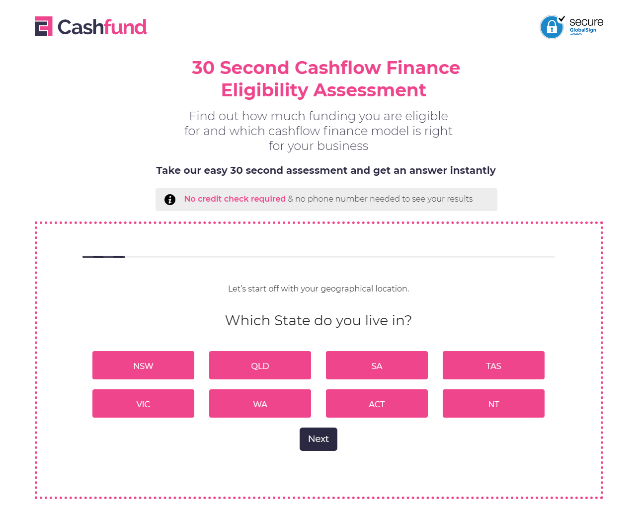 quiz question of 30 second Finance Eligibility assessment