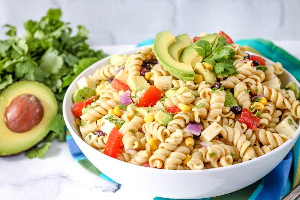 Millie's Holy Guacamole Pasta Salad Ready To Be Served.