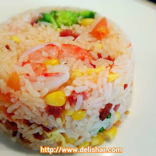 Whole Tomato Rice with Bacon & Prawns.