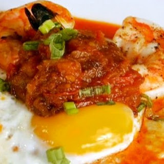 Shrimp and Truffled Grits with Moroccan Chorizo Broth Recipe
