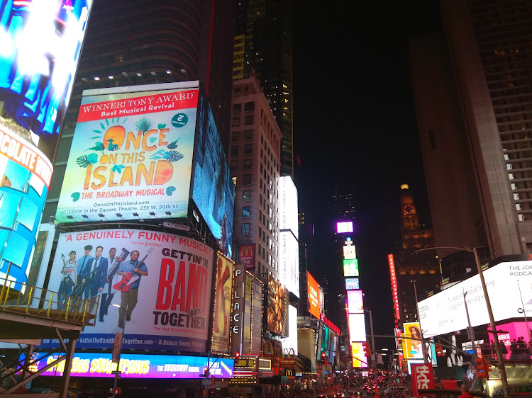 Lighted billboards around Times Square.