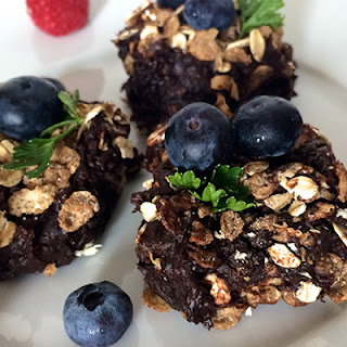 Cashew Brownies with Protein Powder and Granola.
