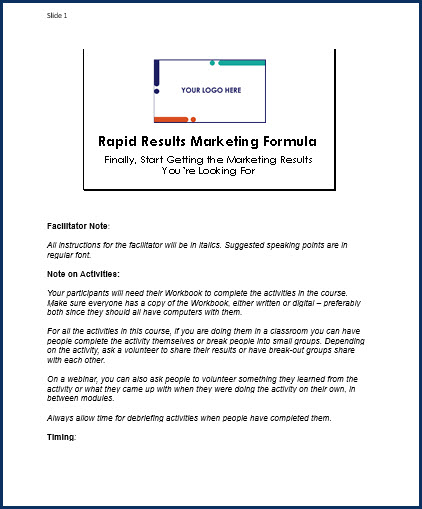 Rapid Results Marketing Formula - Speaker Notes