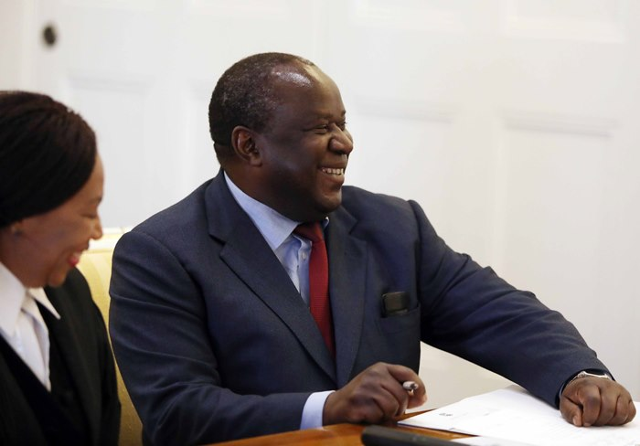 Newly appointed finance minister, Tito Mboweni being sworn in at Tynhuys, Cape Town on October 9 2018