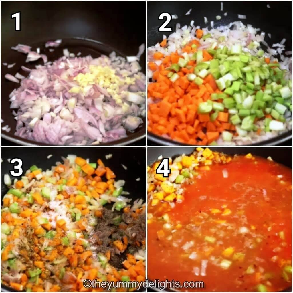 step by step image collage of stir-frying the onion, garlic, celery & carrots. Addition of seasoning, crushed tomatoes & vegetable broth.