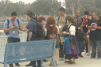 Photo: Saturday - the line for Hall H. Adorable Hobbit women found. They even have hairy feet.