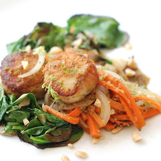 Seared Scallops with Green Curry & Spinach.