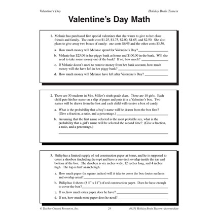 Photo: Here's your link to today's freebie. http://bit.ly/YophBQ Happy Freebie Friday from TeacherVision. Save or print your FREE Valentine's Day Word Problems today. They're free for a limited time. (Posted 2/1/2013)