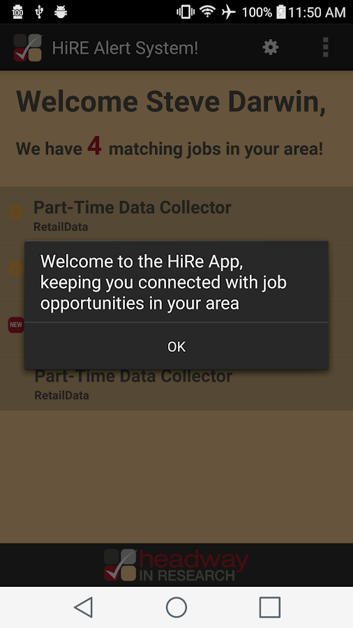 HiRe- Headway in Research Jobs- screenshot