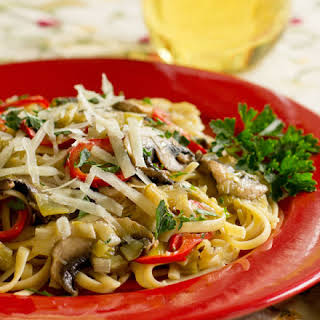 Pasta With Leek Confit and Mushrooms.