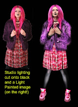 Photo: I normally take pre-Lighting shots so that we can decide on the pose. Here it was done with two studio lights. I've probably over done the jacket a bit, but it adds to the fun image. Notice how Light Painting has transformed the face and also how about the legs? It would be very hard to do this effect with normal lights!