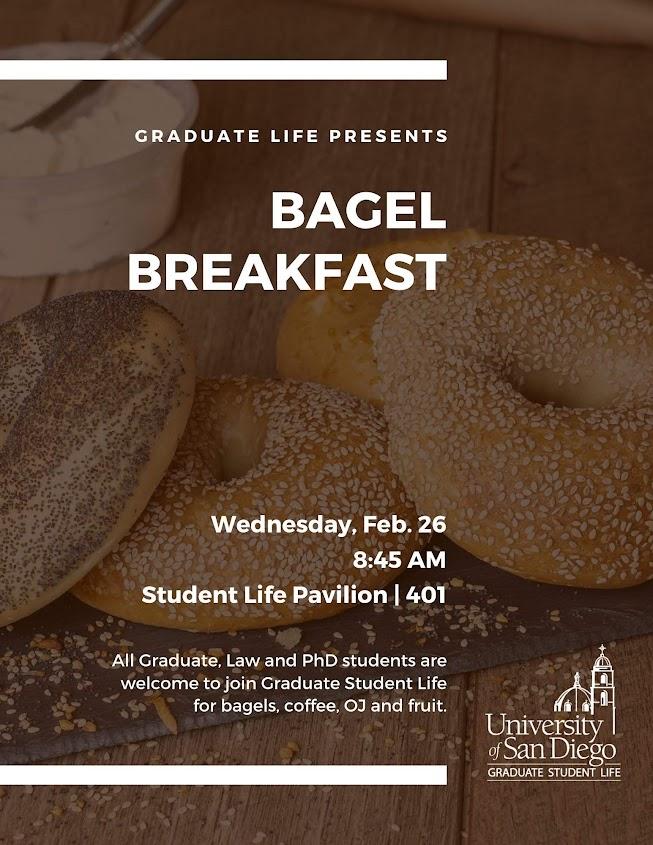 Bagel Breakfast, Wednesday, February 26 at 8:45am in SLP 401