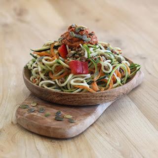 Spicy Tomato Tahini Spiralized Salad
