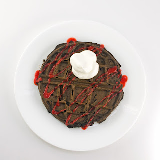 Chocolate Death Star Waffles With Strawberry Sauce