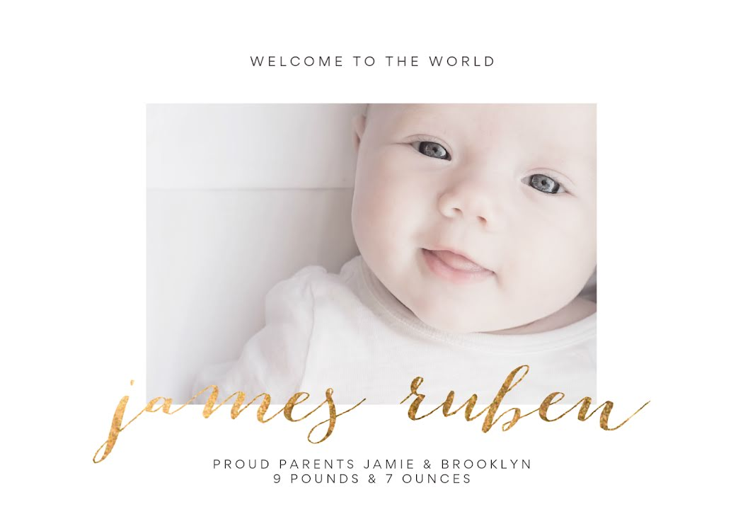 Meet James Ruben - New Baby Announcement Template