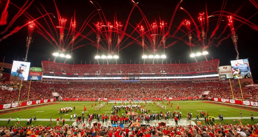 Fireworks go off above a packed Raymond James Stadium during a Tampa Bay Buccaneers game in Tampa, FL.