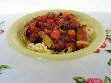 Spicy Ratatouille with Sausage & Spaghetti