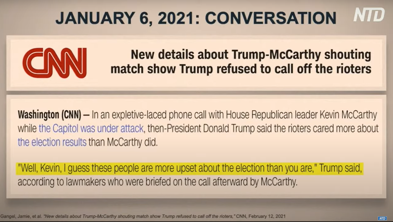 Screenshot of a story by CNN produced on Feb. 12, the previous day, containing hearsay from Rep. Jamie Herrera Beutler (R-WA) about an alleged conversation which took place between House Minority Leader Rep. Kevin McCarthy (R-CA) the day of the riots.