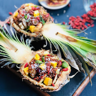 Pineapple, mango and Halloumi cheese quinoa ...dessert?.