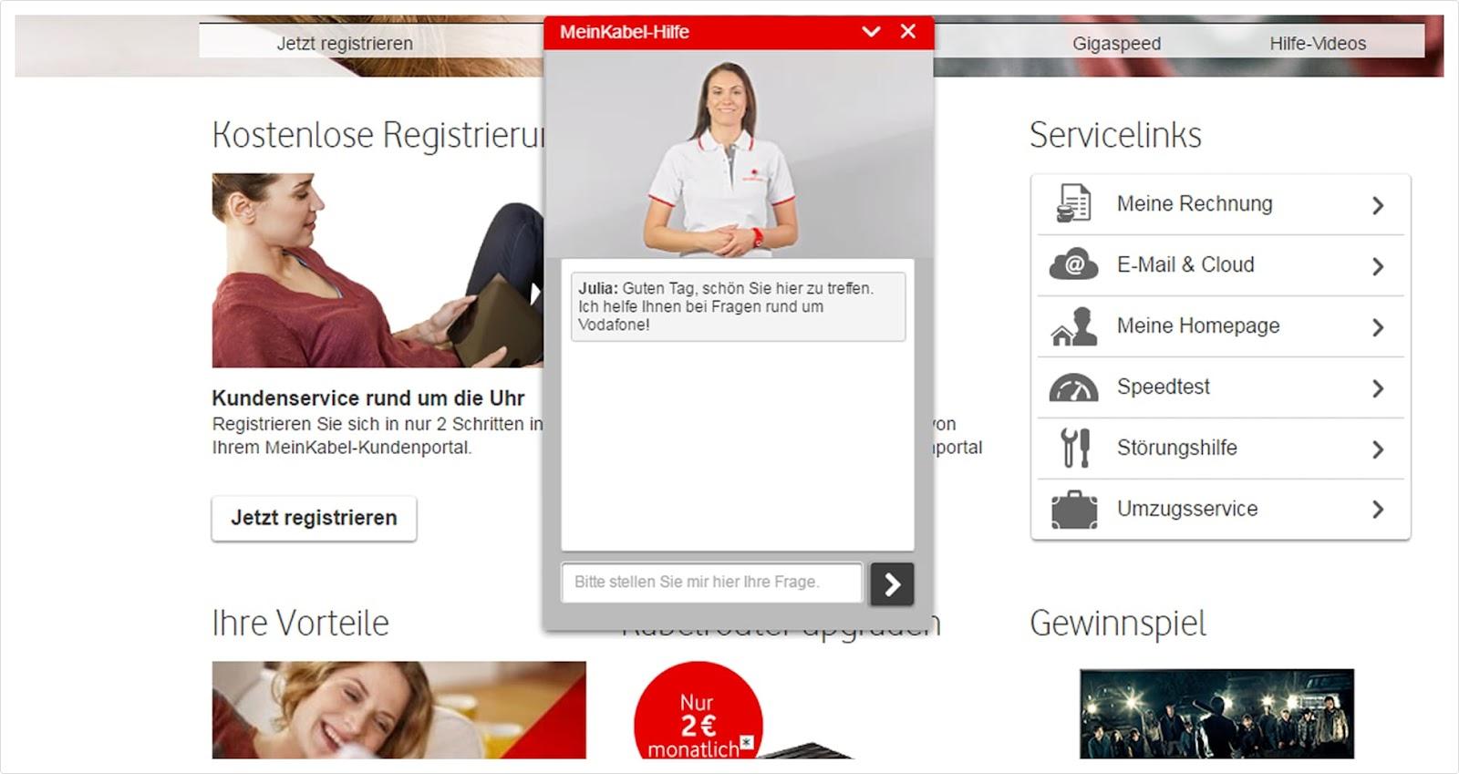 Julia chatbot Vodafone