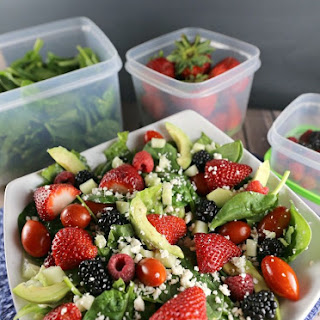 Berry Avocado Spinach Salad with Balsamic Vinaigrette Dressing.