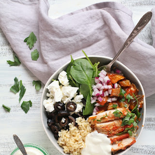 GREEK CHICKEN AND EGGPLANT BOWLS.