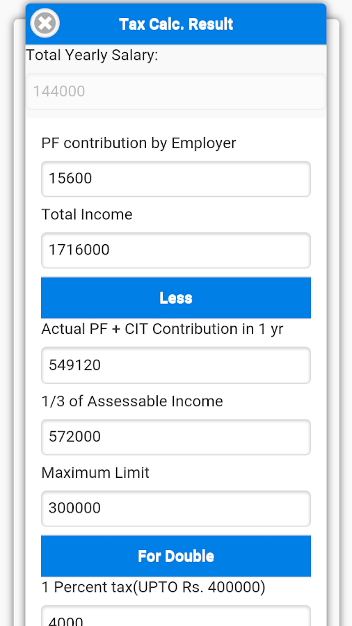Income Tax Calculator:- Nepal- screenshot