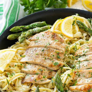 Lemon Asparagus Pasta with Grilled Chicken.