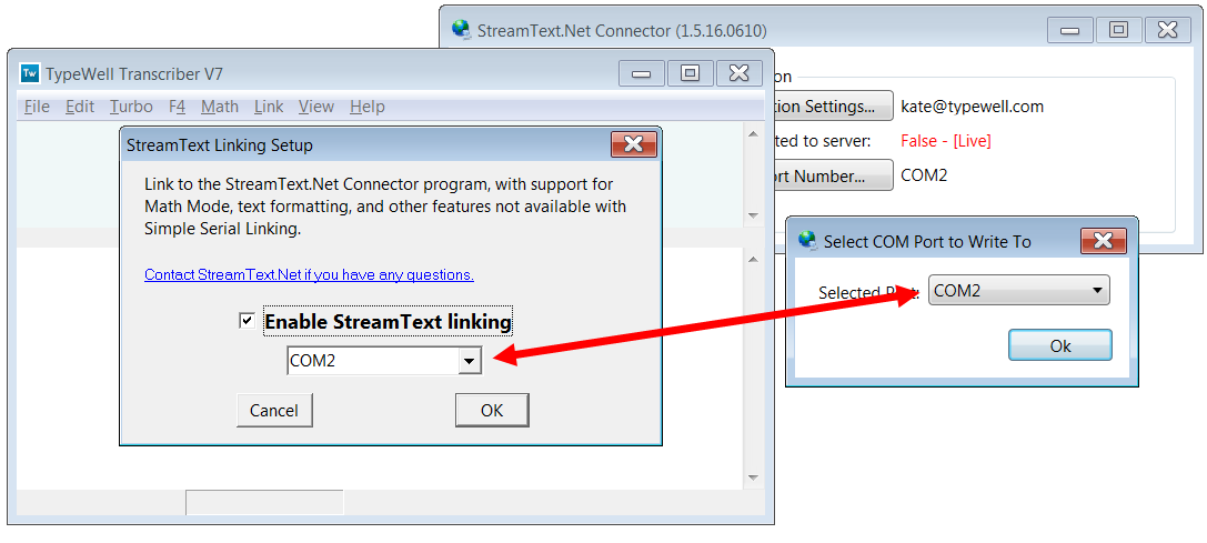 screenshot of both TypeWell and StreamText Connector programs set to COM port 2