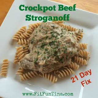 Clean Crock pot Beef Stroganoff.